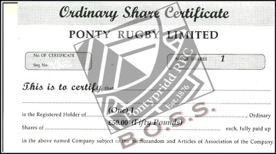 Buy into the BOSS scheme - a share in the future of Ponty RFC